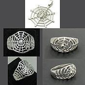 Украшения handmade. Livemaster - original item Ring spider web with spider. pendant Cobweb. Silver Web. Halloween.. Handmade.