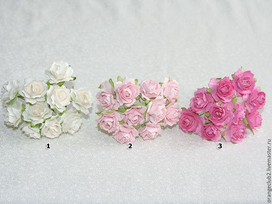 Открытки и скрапбукинг ручной работы. Ярмарка Мастеров - ручная работа. Купить 10 шт. Бумажные цветы 2,5 см. Handmade.