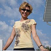 Одежда ручной работы. Ярмарка Мастеров - ручная работа футболка экопринт 8. Handmade.