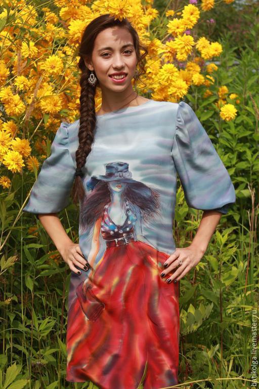 Платья ручной работы. Ярмарка Мастеров - ручная работа. Купить Шелковое платье батик Незнакомка. Handmade. Разноцветный, шелковое платье
