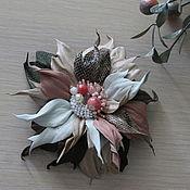 Украшения handmade. Livemaster - original item Brooch-pin made of genuine leather: Tenderness. Handmade.