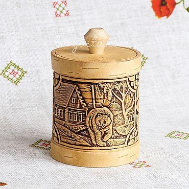 """Посуда ручной работы. Ярмарка Мастеров - ручная работа Туесок из бересты """"Медведь"""" 8х10см. Баночка для хранения, подарок папе. Handmade."""