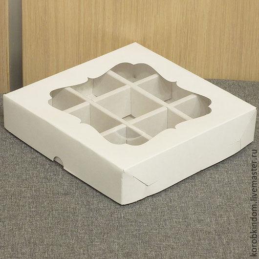 Упаковка ручной работы. Ярмарка Мастеров - ручная работа. Купить Коробка 16х16х3,5 с ячейками и окном белая крышка-дно. Handmade.
