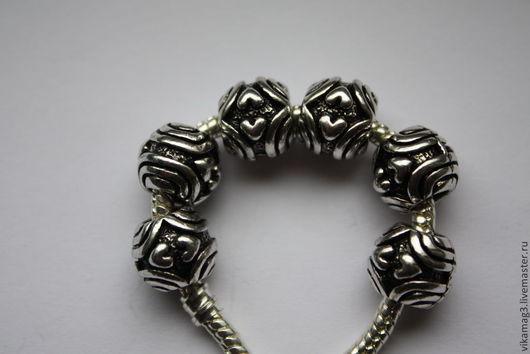 Для украшений ручной работы. Ярмарка Мастеров - ручная работа. Купить Бусины  Пандора металлические Два сердца. Handmade.