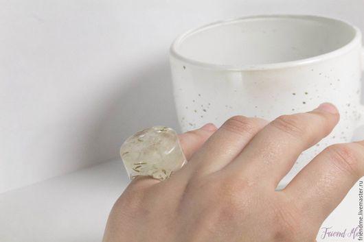 Кольца ручной работы. Ярмарка Мастеров - ручная работа. Купить Кольцо-льдинка с семенами одуванчика. Handmade. Белый, кольцо с одуванчиками