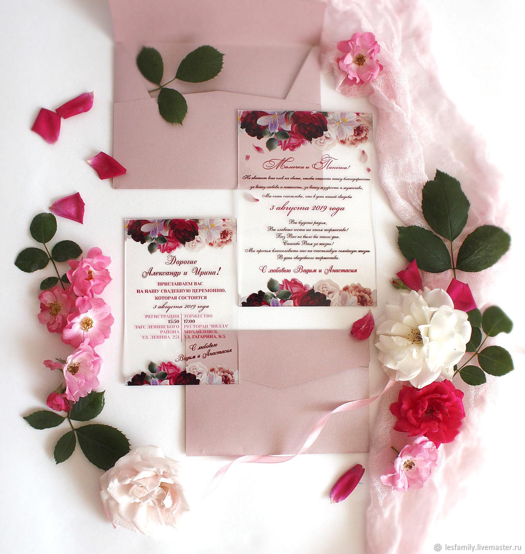 Нежные прозрачные приглашения с розами на стекле, Приглашения, Краснодар,  Фото №1