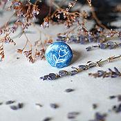 """Украшения ручной работы. Ярмарка Мастеров - ручная работа Кольцо """"Белый цветок на синем"""" с росписью. Handmade."""