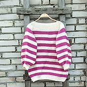 Одежда handmade. Livemaster - original item Sweater knitted, striped, oversize, boho