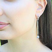 Украшения handmade. Livemaster - original item Modern 4 earrings with cubic zirconia in 925 DD0109 silver. Handmade.