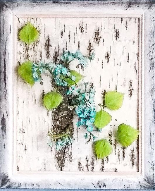 Картины цветов ручной работы. Ярмарка Мастеров - ручная работа. Купить Незабудки на бересте (трехмерная картина). Handmade. Комбинированный, подарок