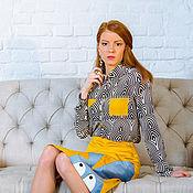Шелковая блузка - поп-арт