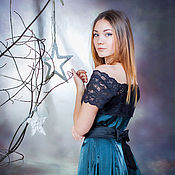 Одежда handmade. Livemaster - original item Dress cocktail taffeta party emerald green with lace. Handmade.