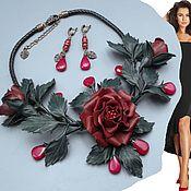 Украшения handmade. Livemaster - original item Chic BORDEAUX jewelry set, leather necklace and earrings. Handmade.