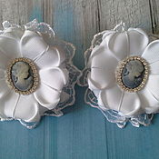 Работы для детей, handmade. Livemaster - original item White bows to school with cameo on September 1st. Handmade.