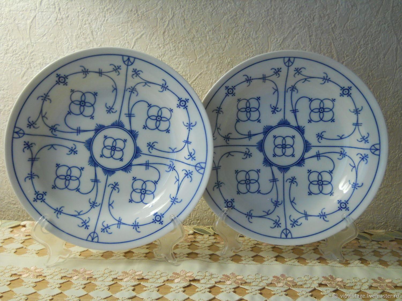 Винтаж: Глубокие обеденные тарелки со сколами Winterling Indisch Blau, Тарелки винтажные, Калининград,  Фото №1
