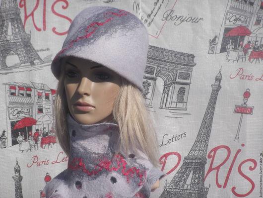 Шляпы ручной работы. Ярмарка Мастеров - ручная работа. Купить Шляпка серая  с шарфом валяные. Handmade. Серый, шляпка клош