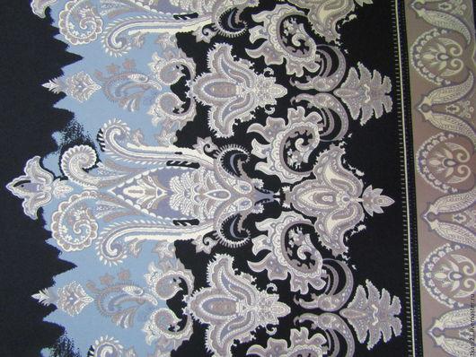 Шитье ручной работы. Ярмарка Мастеров - ручная работа. Купить Трикотаж цветной арт.16 ТЦ-8 (Корея) купон  серо-голубой на черном. Handmade.