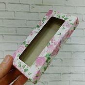 Материалы для творчества ручной работы. Ярмарка Мастеров - ручная работа Коробка цветная  12,5х6х1,5 см  для сувениров,бижутерии. Handmade.