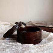 Хранение вещей ручной работы. Ярмарка Мастеров - ручная работа B a s i c _ Круглая деревянная коробочка из термоясеня. Handmade.