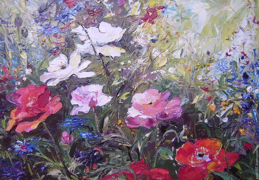 Картины цветов ручной работы. Ярмарка Мастеров - ручная работа. Купить живопись. Handmade. Комбинированный, живопись маслом, картон, масло