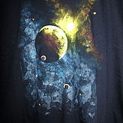 """Одежда ручной работы. Ярмарка Мастеров - ручная работа Футболка с росписью """"Космический рассвет"""". Handmade."""