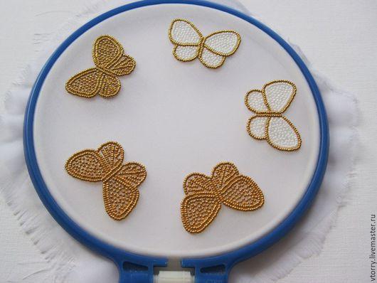 Броши ручной работы. Ярмарка Мастеров - ручная работа. Купить Аппликации-бабочки. Handmade. Золотой, рисунок, бабочка, аппликация вышитая