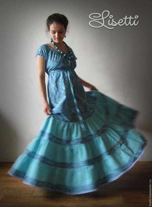 Платья ручной работы. Ярмарка Мастеров - ручная работа. Купить Платье Морская Волна. Handmade. Бирюзовый, длинный сарафан