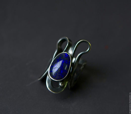 """Кольца ручной работы. Ярмарка Мастеров - ручная работа. Купить Кольцо """"Salamandra"""" с черным опалом. Handmade. Тёмно-синий"""