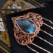 Украшения handmade. Livemaster - original item Hair comb with labradorite stone, copper
