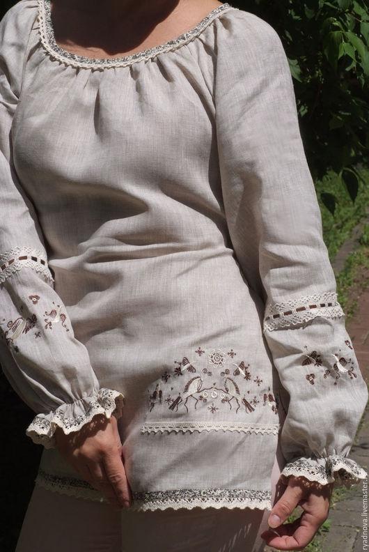 """Блузки ручной работы. Ярмарка Мастеров - ручная работа. Купить Блуза Мезень  """"Лошадки"""". Handmade. Серый, вышивка"""