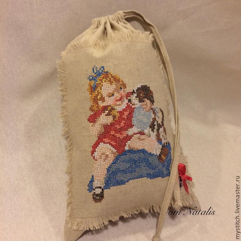 """Винтажный льняной мешочек для детей """"Сначала ты, потом я"""", Мешочек для крестильного набора, Москва,  Фото №1"""