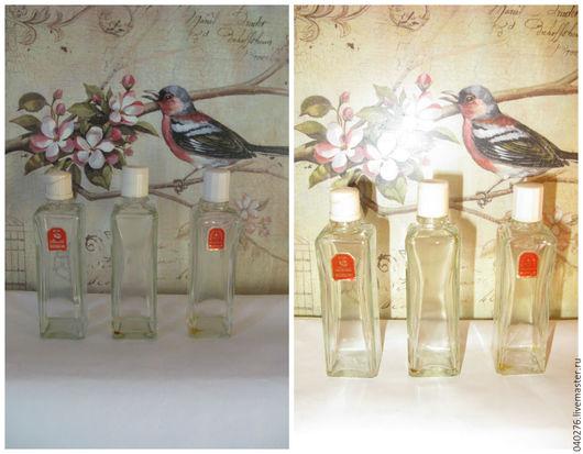 Винтажные флаконы от духов `Милой женщине`, СССР, стекло, высота 10 см. Цена 1000 руб. за набор.