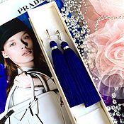 Украшения handmade. Livemaster - original item Earrings-brush Ultramarine, Indigo, electric blue midnight. Handmade.