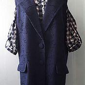 Одежда ручной работы. Ярмарка Мастеров - ручная работа Жилет длинный из вареной шерсти с вышивкой, большой размер.. Handmade.