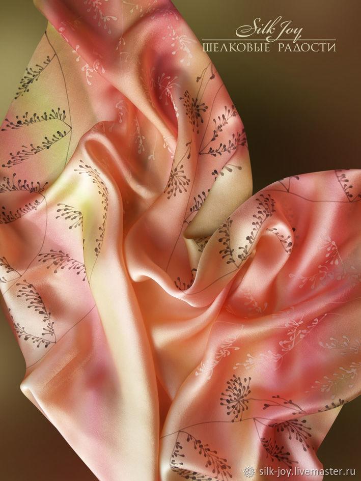 Платок батик Платок шелковый Цветение весны. Подарок на 8 марта, Платки, Ростов-на-Дону,  Фото №1