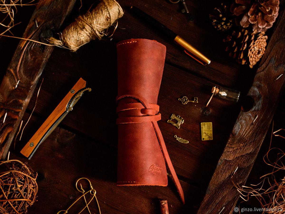 Большой кожаный пенал для ручек карандашей и маркеров цвет Коньяк, Пеналы, Тула, Фото №1
