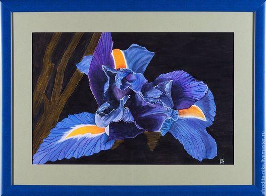 Картины цветов ручной работы. Ярмарка Мастеров - ручная работа. Купить Картина Загадочный ирис. Handmade. Тёмно-синий