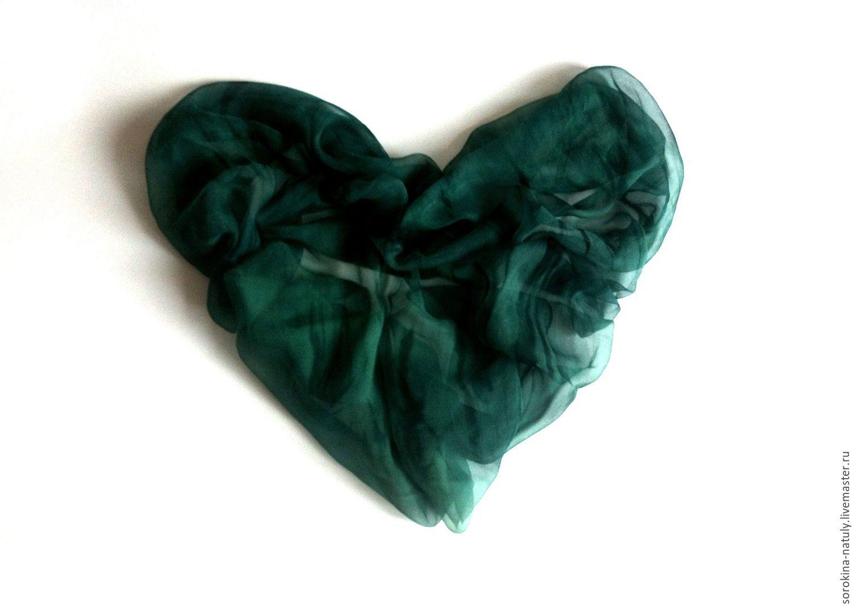 Batik from Natalia Sorokina Paradise Shop silk Batik Shawl Deep Dark emerald green shawl emerald green color Women's shawl Gift girl Gift woman Handmade work of authorship Scarf