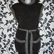 Одежда ручной работы. Ярмарка Мастеров - ручная работа Жилет пуховый с капюшоном женский Черный. Handmade.