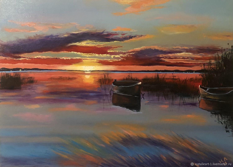 Картина Закат на озере, Картины, Москва,  Фото №1