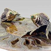 Фен-шуй и эзотерика handmade. Livemaster - original item Money magnet is a pair of Gold fish on the Ammonite. Handmade.