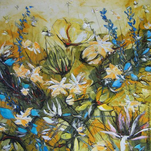 """Картины цветов ручной работы. Ярмарка Мастеров - ручная работа. Купить """"Сад"""" 50х50 см картина маслом мастихином на холсте и подрамнике. Handmade."""