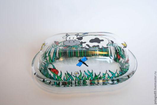 """Тарелки ручной работы. Ярмарка Мастеров - ручная работа. Купить Масленка """"На выпасе"""". Handmade. Посуда, корова, трава"""