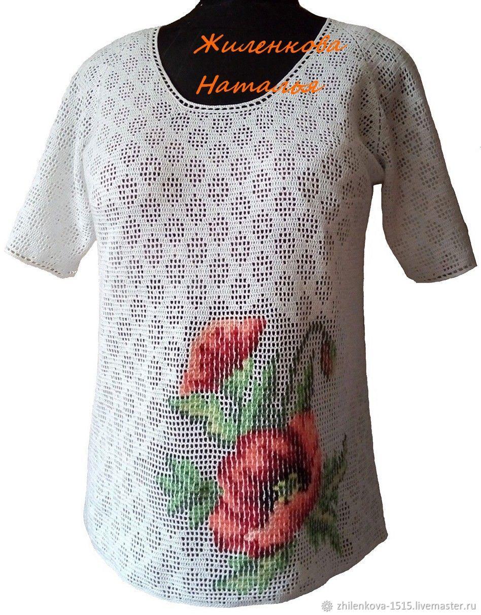 Блузка хлопковая с вышивкой Маки, Блузки, Артем, Фото №1