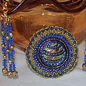 Украшения handmade. Livemaster - original item Brooch and earrings from beads of Saturn`s Rings. Handmade.