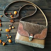 Сумки и аксессуары handmade. Livemaster - original item Bag made of genuine leather and suede in the style of boho sand. Handmade.