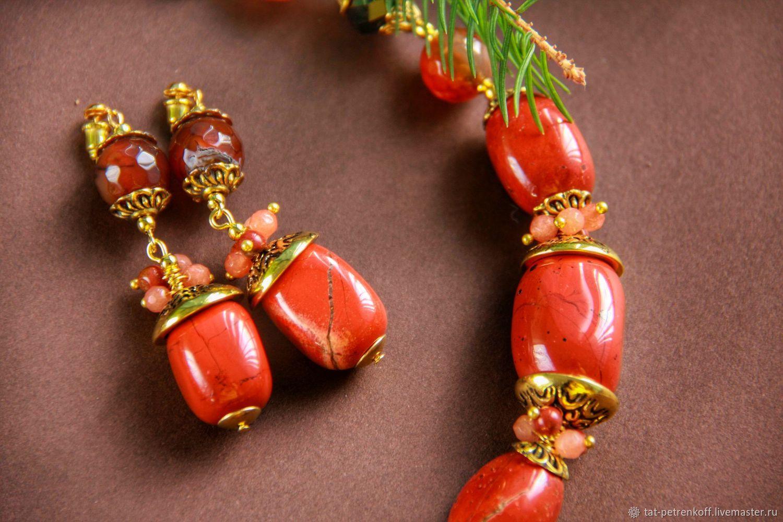Earrings 'Red and black' - red Jasper, carnelian, agate, Earrings, Moscow,  Фото №1