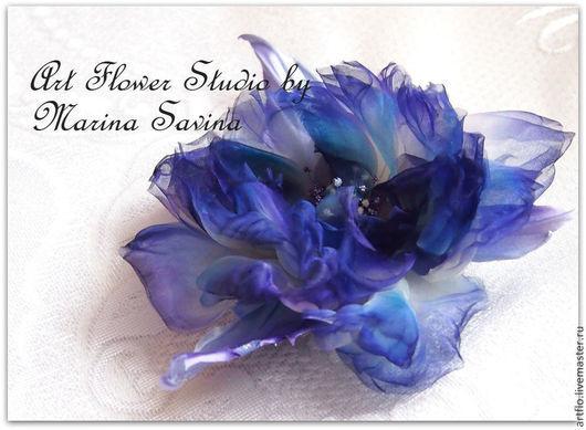 """Цветы ручной работы. Ярмарка Мастеров - ручная работа. Купить """"Ледяной кристалл"""" - роза из шёлка. Handmade. Фиолетовый, цветы в прическу"""