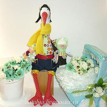 Куклы и игрушки ручной работы. Ярмарка Мастеров - ручная работа Аист лётчик с младенцем. птица. желтый. Handmade.