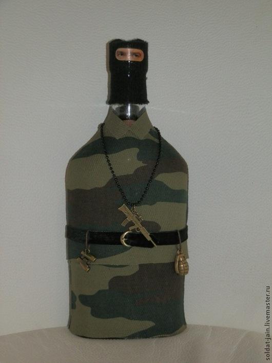 """Подарочное оформление бутылок ручной работы. Ярмарка Мастеров - ручная работа. Купить """"Боец (спецназ)"""". Handmade. Подарки для мужчин"""